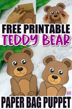 Click now to download and print our free bear template to make this fun brown teddy bear paper bag puppet craft. Print three of them to have a start in a puppet show of Goldilocks and the three bears! This bear paper bag puppet craft is perfect for kids of all ages including preschoolers and toddlers. Bear Crafts, Animal Crafts For Kids, Fall Crafts For Kids, Toddler Crafts, Paper Bag Crafts, Diy Paper, Printable Crafts, Free Printables, Preschool Printables