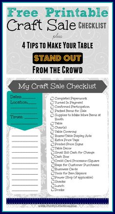 Do you need a free printable craft sale checklist? Print your list free plus get 4 tips on how to make your booth pop!