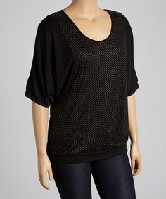 Look what I found on #zulily! Black Pin Dot Cape-Sleeve Top - Plus #zulilyfinds