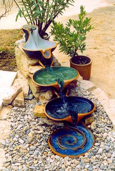 Pretty Flowform – beautiful and functional as an outdoor water feature to offer oxygenated water, and others even assist with biodynamic preparations 65 Awesome Backyard Ponds and Water Feature Landscaping Ideas - Wholehomekover 99 Affordable Water Feat Outdoor Water Features, Water Features In The Garden, Garden Fountains, Outdoor Fountains, Indoor Fountain, Fountain Park, Bamboo Fountain, Fountain Garden, Front Yard Landscaping