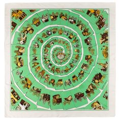 """HERMES c.1976 Philippe Ledoux """"Carrosserie"""" Green Carriage Print Silk Scarf For Sale at 1stdibs"""