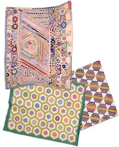"Maverick Quilts.  Hexagon ... Repeated six-sided pieces could be organized in various ways; the most popular being an overall design known as ""Grandmother's Flower Garden."" Some women had other ideas (occasionally pretty wild) of how to put their hexagons together."