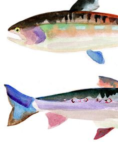 This is an archival quality print of my original watercolor painting. Your print comes lightly signed and dated below the image. Watercolor Fish, Green Watercolor, Watercolor Paintings, Watercolour, Illustrations, Illustration Art, Fish Wall Art, Guache, Tier Fotos