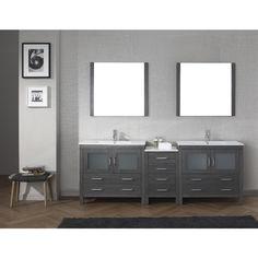Virtu USA Dior 74 in. Double Vanity in Zebra Grey with Marble Vanity Top in White and - The Home Depot Ikea Bathroom Vanity, Double Sink Bathroom, Master Bathroom, Home Depot, Square Sink, Marble Vanity Tops, Marble Top, White Marble, Dior