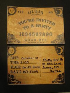 Ouija Party Invitations for Halloween. Printable templates, and she transferred these to actual wood to make miniature boards using Con-Tact paper and a laser printer. Hope I don't get possessed on accident. Halloween 2018, Holidays Halloween, Scary Halloween, Halloween Crafts, Happy Halloween, Halloween Decorations, Halloween Printable, Halloween Labels, Halloween Photos