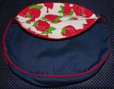 Preppy VINTAGE BERMUDA Bag Cover, Retro Strawberry Print, Royal Blue by VintageKitschEtsy, $4.65