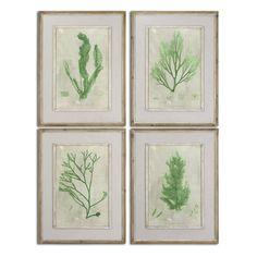 Uttermost Emerald Seaweed Framed Art S/4 51092