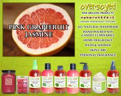Pink Grapefruit Jasmine Product Collection - A citrus blend of grapefruit and lemon with a heart of green mint, jasmine petals and orange blossom! #OverSoyed #PinkGrapefruitJasmine #Citrus #Citrusy #Candles #HomeFragrance #BathandBody #Beauty