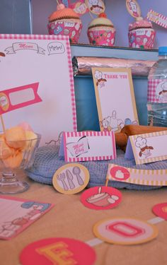 Pink Mini Chef Party Stationery Set by CreativeLittleStars on Etsy,