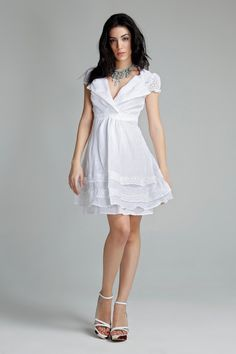 White romantic summer dress  High waist dress by muchoshop on Etsy, $64.00