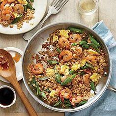 Quick Fried Brown Rice with Shrimp and Snap Peas Recipe | MyRecipes.com