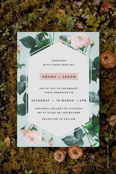 Stunning green botanical Wedding Invitation by Sail and Swan Studio. The design features pale mint green background with pastel pink roses.