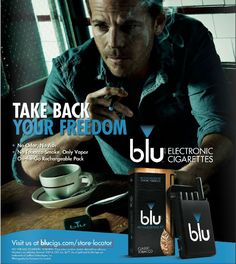 This advertisement was featured in Maxim Magazine in the October 2014 issue. In this ad, smoking indoors, especially while enjoying a cup of coffee, is used as a metaphor for freedom. In today's society, cigarettes are becoming increasingly frowned upon, and policing of where and when people are allowed to smoke is heavily enforced. blu Cigarettes, however, have attempted to use a spin-off of the 1st Amendment to preserve the gritty, rugged man's freedom to smoke where and when he pleases.