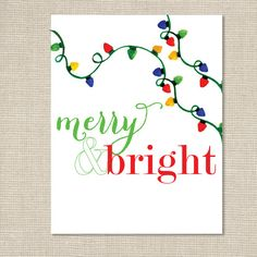 Christmas Art Print / Merry & Bright by ChristmasLovelies on Etsy, $15.00