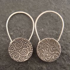 Earrings | Chuck Domitrovich. 'Cupped Padlock' Sterling silver