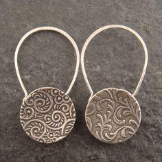 Earrings   Chuck Domitrovich. 'Cupped Padlock' Sterling silver