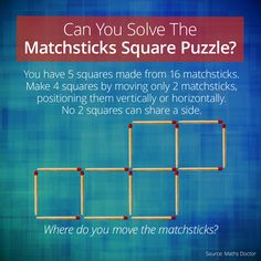 Can You Solve The Matchsticks Squares Logic Puzzle?