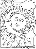 Adult coloring page The moon and the sun