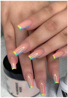 Neon Acrylic Nails, Short Square Acrylic Nails, Acrylic Nails Kylie Jenner, Almond Acrylic Nails, Neon Nails, Dope Nails, Swag Nails, Glitter Nails, Almond Nails