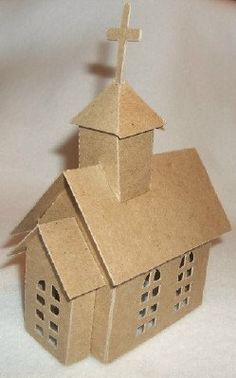 Christmas DIY: Christmas CHURCH Ass Christmas CHURCH Assembled- Paint & Decorate your own Putz House/Glitter House day decorations for church Box Houses, Putz Houses, Paper Houses, Cardboard Houses, Mini Houses, Fairy Houses, Christmas Paper, Christmas Projects, Christmas Home