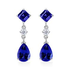 Pear, Square Tanzanite and Diamond Dangle Earrings - Tanzanite Jewelry - Jewelry | Angara.com