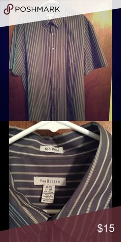 Short sleeve button down shirt Gray striped no-iron shirt.  Never worn and in perfect condition. Van Heusen Shirts Casual Button Down Shirts