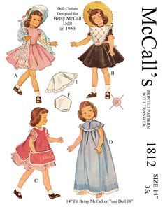 Reproduced pattern, for 14 inch betsy mccall and others. Available at http://www.buggsbooks.com