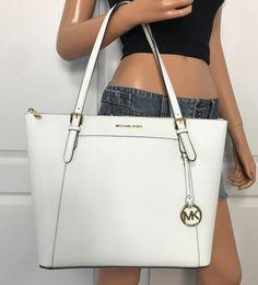 de7bc87ebc6 Michael Kors Large EW Saffiano Leather Tote Shoulder Bag Purse Optic White