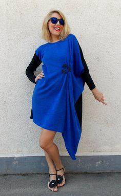 Plus Size Asymmetrical Dress, Winter Wool Dress, Oversize Extravagant Blue Dress TDK81 by TEYXO https://www.etsy.com/listing/199424238/plus-size-asymmetrical-dress-winter-wool?utm_campaign=crowdfire&utm_content=crowdfire&utm_medium=social&utm_source=pinterest