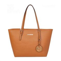 Michael Kors Jet Set Saffiano Travel Medium Brown Totes Will Undoubtly Be A Nice Friend In Your Life And You Will Believe That! #WhatSheWants