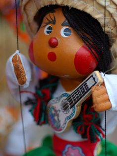 Traditional Mexican Puppet at Street Stall near Playa de Los Muertos in Zona Romanica, Mexico