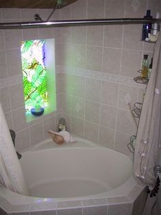 Corner Tub Shower Curtain Rod | click on picture to enlarge