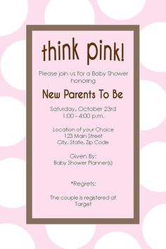 Pink Polka Dots Baby Shower Invitation by DTCNC on Etsy, $10.00