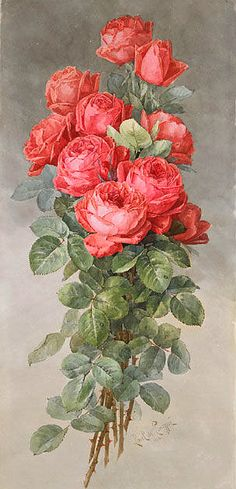 Paul de Longpre Spray of American Beauty Roses   c.1898