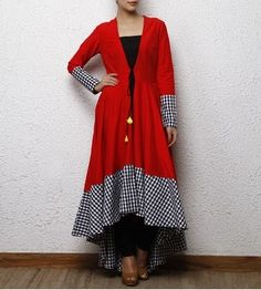 Roposo.com - Latest cotton and silk full-sleeve high-low anarkali-suits with tassels online red cotton silk wrap dress