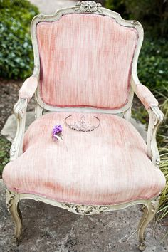 Antique chair, Butterfly Bush bloom, vintage tiara. Photo by Volatile Photography. www.volatilephoto.com