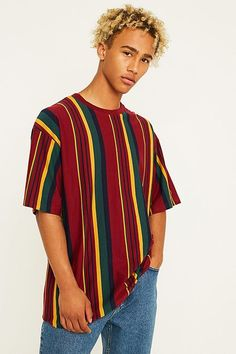 Shop UO Vertical Stripe Red T-Shirt at Urban Outfitters today. Vertical Striped Shirt, Striped Tee, Vertical Stripes, Fashion Socks, Fashion Outfits, Shirt Outfit, T Shirt, Mens Clothing Styles, Urban Fashion