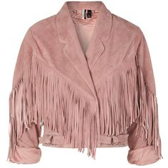 Topshop Suede Tassel '80s Biker Jacket (9.130 RUB) ❤ liked on Polyvore featuring outerwear, jackets, topshop, pink, tops, cropped suede jacket, cropped moto jacket, cropped jacket, suede leather jacket and suede jackets