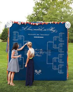 Sports Themed Wedding Inspiration | Not only is this bracket seating chart such a creative idea, it's also an extremely organized display. If you're planning a larger wedding, a sign like this makes it easier to direct the crowds to their places.