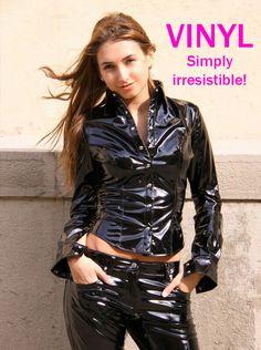 Cutie in a superb black Vinyl Outfit Fetish Fashion, Latex Fashion, Pvc Leggings, Pvc Hose, Vinyl Dress, Vinyl Clothing, Latex Dress, Sexy Latex, Vinyl Shirts