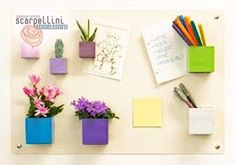 Magnetic board and recycled tin planters.what a great idea Arts And Crafts, Diy Crafts, Pen Holders, Garden Styles, Embellishments, Magnets, Recycling, Diy Projects, Crafty