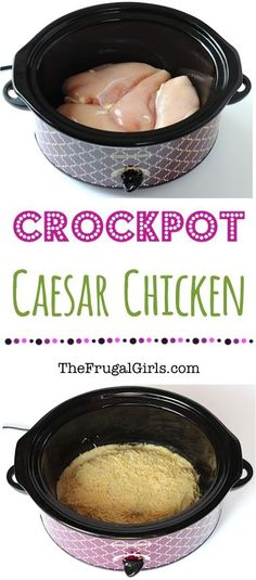 Crock Pot Caesar Chicken Recipe! ~ from TheFrugalGirls.com ~ super easy and ridiculously delicious! Go grab your Crockpot… it's hard to resist chicken smothered in decadent Parmesan! Just 3 ingredients!! #slowcooker #recipes #thefrugalgirls