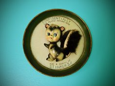 Vintage 1970's Decorative Skunk Wall Art Hanging Ceramic Picture Plate