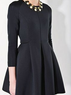 Long Sleeve Slim Dress with Skater Skirt in Black