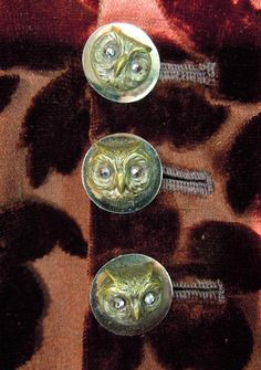Owl buttons on brown satin and velvet dress. ca. 1895-1900. Silverman/Rodgers Collection, KSUM 1983.1.192