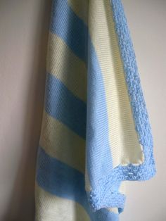 Light blue and Cream knitted baby blanket