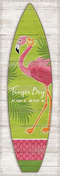 Artist Suzanne Nicoll's coastal Pink Flamingo Surfboard image printed directly to a distressed wood panel creating a unique and rustic approach to her art - completely custom created for you! Beach House Signs, Beach Signs, Beach House Decor, Flamingo Decor, Pink Flamingos, Flamingo Beach, Yard Flamingos, Flamingo Outfit, Flamingo Garden