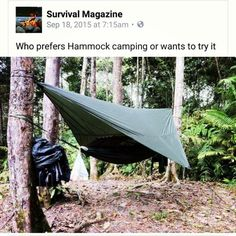 Who prefers Hammock camping or wants to try it? #camping #campingtips #campingtools #campsitecooking #outdoortips #outdoor #outdoorclothing #outdoortools #survival #survivaltools #survivalskills #survivaltips https://www.reelfishingadventures.com/ Survival Magazine's photo.