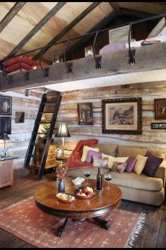 Log cabin interior design is associated with those winter vacations where you do nothing but relax. We mustn't forget that there are also log cabin homes. Cabin Interior Design, House Design, Loft Design, Modern Interior, Garage Design, Diy Interior, Interior Walls, Attic Design, Bathroom Interior