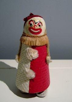 vintage wood clown part scary part kitsch